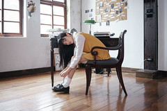 Nixie (I C E I N N) Tags: wood school windows portrait people brown white black reflection girl yellow socks wall shirt loft 35mm asian wooden chair shoes moody dress photoshoot floor desk steel sony indoor e frame column fe melancholy   gaze f28 dreamcatcher  carlzeiss nixie desklight typewirter  emount  sonnartfe2835 femount sonya7ii ilce7m2  pinghsuan