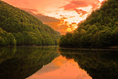 'sun-goes-down' (bcalin26) Tags: travel sunset sky sun lake tree green nature forest