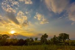 Humid Sunset, Kansas, USA (thefisch1) Tags: blue sunset sky cloud storm color tree green grass yellow skyline interesting weeds nikon colorful outdoor horizon fluffy hills pasture kansas prairie nikkor puffy flint humidity oogle 1424