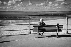 Remembering The Good Times (nigelhunter) Tags: street flowers shadow sky white lake seascape man black clouds fence bench landscape view district candid promenade morecambe