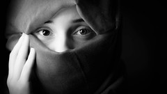 Sorrow (GR1CreativeMedia) Tags: white black monochrome eyes nikon emotion hijab d750 sorrow f28 connection 80200 stobe octabox