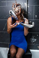 Ines is dressed for some pie (Wet and Messy Photography) Tags: girl pie model highheels dress ines messy messyhair heels pieintheface wetandmessy gettingpied