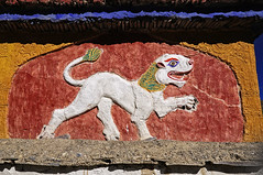 The Mythical Lion Sculpture at Lamayuru, Ladakh, India (Anoop Negi) Tags: travel red sculpture india white temple photography photo buddhist details lion chorten kashmir anoop mane ladakh negi greeb ezee123 senge myhtical lamayru waklk