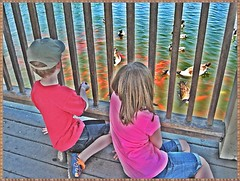 WATCHING THE DUCKS AND THE FISH (Visual Images1) Tags: park newyork backlight 6ws may stanley grandkids crossings angeline colonie 2015 photoscape