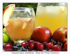 Natural juice multifruit - Diaz De Vivar Gustavo (Diaz De Vivar Gustavo) Tags: orange apple water de lemon strawberry natural drink manzana juice peach fresh sugar gustavo pineapple ingredients 100 uva mixture diaz jugo uvas cereza maracuya ingredientes citricacid vivar multifruit multifruta marakuja