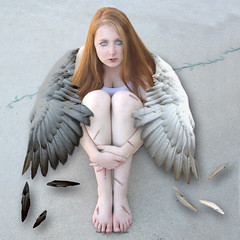 Angel Wings (twylaburger) Tags: light red sun white black love feet angel hair dead sadness freedom fly other fight hurt wings war alone peace pieces child darkness heart time air lies bad feathers free redhead scissors part stop same join disguise memory half strong why bleed sorrow loud each divide beyonce separate
