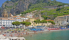 Amalfi, Amalfi Coast, Campania, Italy (Rosie Girl1) Tags: summer people italy beach buildings coast europe italia campania amalficoast eu oldbuildings it amalfi patevans colourfulbuildings peoplerelaxing italianseaside a580 rosiegirl rosiegirl1 therosiegirl therosiegirl1