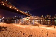 Lighting things up under the Queensboro Bridge (Ray Skwire) Tags: nyc newyorkcity ny newyork fire nikon manhattan sparks queensborobridge sigma1020 d7200