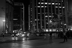 Closing off Market Street (JB by the Sea) Tags: sanfrancisco california urban blackandwhite bw night financialdistrict marketstreet sb50 superbowlcity superbowl50 february2016