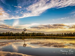A peaceful afternoon near Ipswich Qld Australia. (Muzfox) Tags: sunset cloud reflection water windmill rural landscape dam country australia queensland ipswich swichedon swichedonipswich