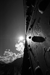 Engine Bridge Abstract (ryan.kole32) Tags: bridge shadow blackandwhite sun canada abstract metal clouds landscape pov steel sony perspective alberta rockymountains canmore canadianrockies enginebridge canmorealberta sonya65
