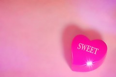 Sweet Heart-HMM! (Jo- Brilliant Sun and Mid 60's Today!) Tags: pink word heart sweet small letters flare macromondays vibrantminimalism