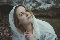 First Snow (amyjutras) Tags: woman white selfportrait snow self fineart fabric flurries witchy twentyeight