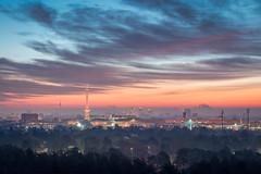 Sunrise @ Berlin (stefanschaefer90) Tags: city morning blue sky sun berlin tower clouds sunrise cityscape fernsehturm sonne funkturm sonnenaufgang morgen trme