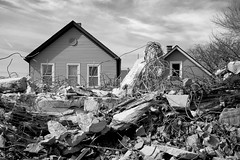 Front Yard (Andy Marfia) Tags: houses blackandwhite bw chicago concrete iso100 steel overpass demolition f8 westernave rubble belmontave roscoevillage 1400sec d7100 1685mm