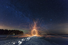 Passion (Rasmus Luostarinen) Tags: art canon finland stars photography eos landscapes fireball northernlights auroraborealis rasmus winternight starrynight milkyway steelwool longtimeexposure heinävesi 1635mm fireart nightclouds benro 5ds luostarinen rasmusluostarinenphotography