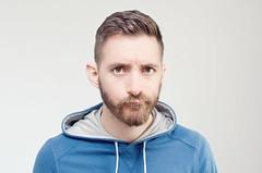 (Damien Cox) Tags: uk blue portrait selfportrait man male me face self ego myself beard eyes nikon masculine moi hoody ear autorretrato scruff stubble i damiencox damiencoxcouk