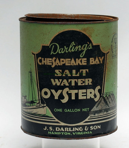 Rare J.S. Darling/Hampton, VA Oyster Tin - $110.00 (Sold August 14, 2015)