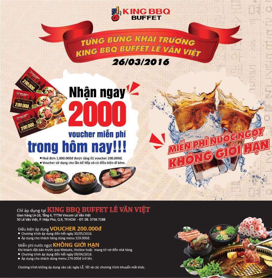Khai trương KingBBQ Buffet Lê Văn Việt