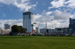 Lots Going On (Jocey K) Tags: newzealand christchurch sky architecture clouds buildings demolition digger