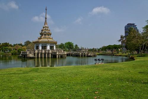Building in Chaloem Kanchanaphisek Park in Nonthaburi, Thailand