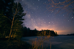Early morning, Lac du Cerf, Quebec (CloudPhotoz) Tags: morning lake canada night way stars shot quebec lac du milky voie toile cerf lacte