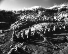 Boat Skeleton and Shadow at Dawn (danny.rowton) Tags: blackandwhite moon 120 film pentax surreal 120film danny 6x7 rowton pentax6x7 luner dannyrowton