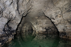 Les lacs (flallier) Tags: lake water reflections underground eau lac tunnel reflect subterranean gypsum reflexions reflets quarry co2 carrire souterraine gypse