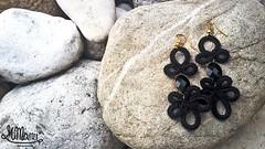 MiMan Handmade Earring - Doodle #02/ Black (O) (MiMan) Tags: black gold lace pair earring bijoux hook nero pendant oro pizzo paio pendente orecchino bigiotteria