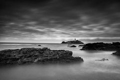 Stormy Sky (~g@ry~ (clevedon-clarks)) Tags: uk longexposure sunset sea england blackandwhite bw lighthouse seascape monochrome clouds landscape mono coast blackwhite rocks europe cornwall coastal godrevy ndfilter moodyclouds daytimelongexposure 10stop milkywater blackandwhitelongexposure hitechfilters mistyrocks moodymono