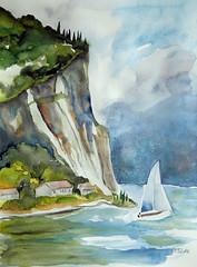315 Steilkste am Gardasee (Wuwus Bilder) Tags: kunst cliffs watercolour steilkste aquarell