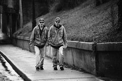 Twins? (Jeffrey Deal) Tags: street city two urban streets men hat sunglasses ball walking hoodie twins alley jean brothers brother acid twin guys jeans wash jacket cap backwards