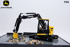 01_John_Deere_75G (LegoMathijs) Tags: road scale yellow john chains team model lego display technic dozer blade snot deere compact excavator moc 75g foitsop decalls legomathijs
