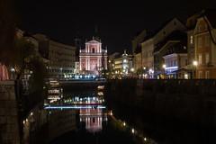 Ljubljana by Night (mimo1213) Tags: city reflection night river cityscape cathedral calm slovenia ljubljana ljubljanica
