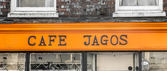 91B/366 Cafe Jagos - Photograph from my second 366 project for 2016 -a photo a day for a year. (dorsetpeach) Tags: england orange black sign reflections cafe dorset letter 365 dorchester 2016 366 jagos aphotoadayforayear 366project second365project cafejagos