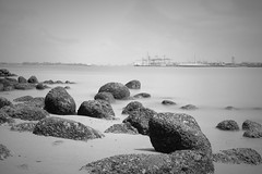 Rocks on Punggol Beach (mcartmell) Tags: longexposure blackandwhite beach singapore rocks punggol