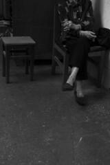 Sitting with no-name (Job Homeless) Tags: blackandwhite hongkong streetphotography jordan f2 58mm helios44m monochorme streetsnap canon6d