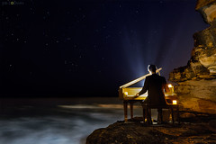OCEAN CONCERTO (Joel Coleman Photography) Tags: ocean light abstract beach night stars star nightscape piano magical