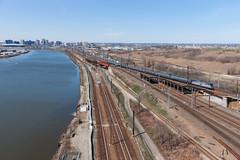 Kearny Junction (sullivan1985) Tags: new boston river long afternoon nj siemens meadowlands junction amtrak rush hour jersey distance passaic eastbound kearny jct amtk acs64