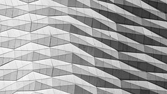 Abstract Buildings (Dell's Pics) Tags: light shadow white abstract black building lines triangles liverpool docks mono shapes olympus monotone omd em5