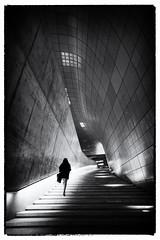 Into the Light (flowerbridge@rocketmail.com) Tags: blackandwhite architecture lady steps staircase seoul dondaemun dondaemundesignplaza