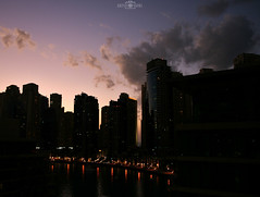Sunset in the city - No.1 -  Dubai Marina, UAE (kadryskory) Tags: city trip travel sunset sky urban cloud colour water skyline skyscraper marina skyscape lowlight dubai uae dubaimarina kadryskory