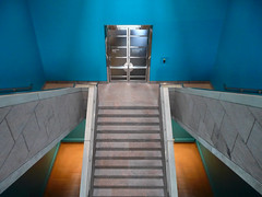 Stairway, National Gallery of Canada, Ottawa, Ontario (duaneschermerhorn) Tags: blue green art stone museum architecture modern stairs gold design colorful gallery contemporary interior steps stairway architect staircase granite modernarchitecture moshe moshesafdie moderndesign safdie contemporaryarchitecture contemporarydesign