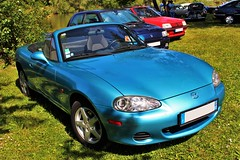 Mazda MX-5 (alex73s https://www.facebook.com/CaptureOfAlex?pnr) Tags: auto blue classic car canon japanese automobile transport meeting automotive voiture bleu coche mazda macchina mx5 cabriolet vehicule japonaise rassemblement