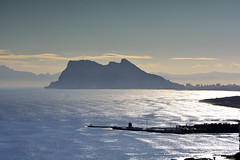 The Dock (MDM-photography) Tags: ocean uk sea sky mist mountain seascape reflection rock port landscape dock spain europe waves gibraltar distant