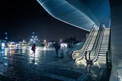L'legance en toutes circonstances... (Waterproof Elegance) (Gilderic Photography) Tags: light girl rain station night canon stair belgium belgique belgie pluie style liege nuit guillemins g7x gilderic