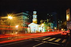 "St. John's Episcopal or ""Church of the Presidents"" (karstenphoto) Tags: st analog 35mm lights washingtondc dc washington stream long exposure kodak ishootfilm johns episcopal ektar filmisnotdead ektaratnight"