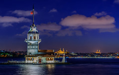 Maiden Tower at Blue Hour from Uskudar (Aleem Yousaf) Tags: blue sky tower clouds reflections turkey nikon istanbul hour maiden bosphorus d800 leander 70200mm uskudar kiz kulesi