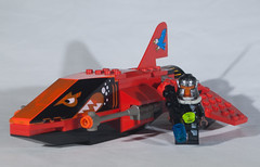 Freedom's Price Pilot (EliteGuard01) Tags: red speed fighter lego space lasers sciencefiction custom stunt starship cannons bountyhunter mercenary starfighter scify puritycity