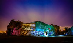 The Death of Victorian Heavy Industry (john&mairi) Tags: uk lightpainting me silhouette graffiti scotland factory glasgow engineering torch le workshop figure mauritania oceanliner lusitania tradeston uboats iesis lenserp7 jameshowden nisbetsinclair victorianheavyindustry forceddraughtsystem